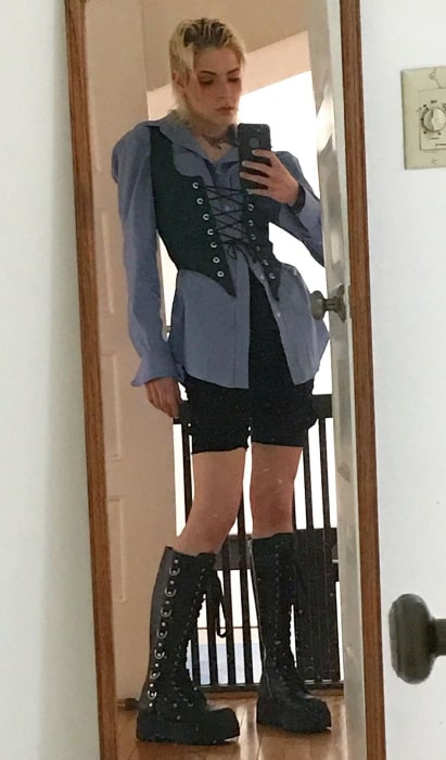 Dorian Electra as seen while taking a mirror selfie in April 2020