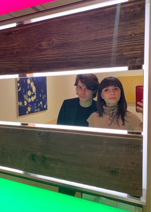 Elizabeth Cappuccino as seen in a selfie taken with James Grachos at the Palm Springs Art Museum in January 2020
