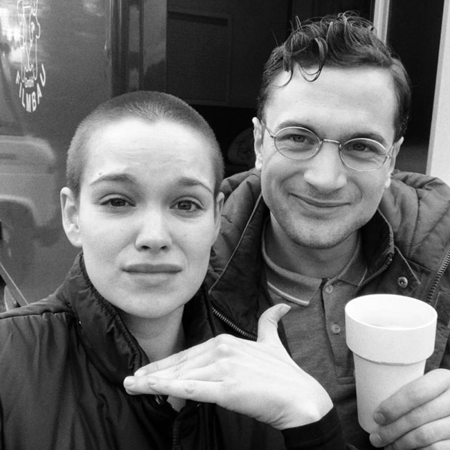 Emilia Schüle as seen in a black and white selfie with actor Samuel Schneider in April 2020