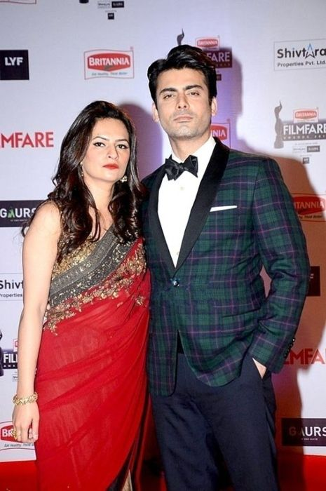 Fawad and his wife Sadaf Khan at the Filmfare Awards in 2016