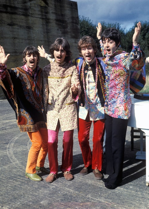 From Left to Right - Ringo Starr, George Harrison, John Lennon, and Paul McCartney as seen during The Beatles' Magical Mystery Tour