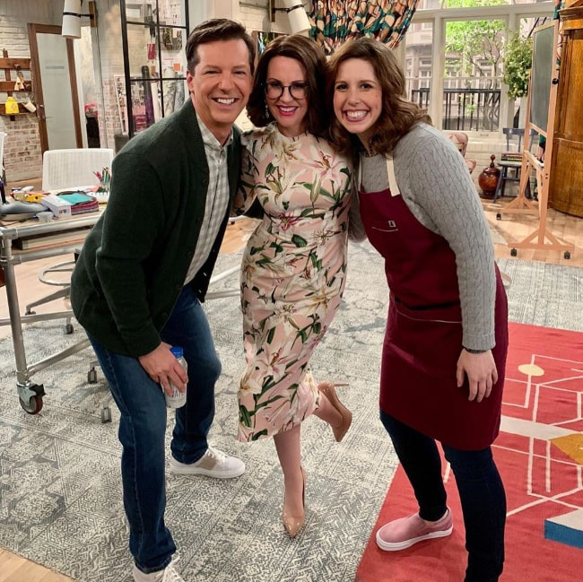 From Left to Right - Sean Hayes, Megan Mullally, and Vanessa Bayer posing for a picture in November 2019