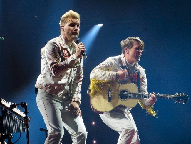 Gary Barlow and Mark Owen performing at the SSE Hydro in Glasgow during their Wonderland Live tour in 2017