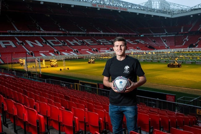 Harry Maguire during a photoshoot at Old Trafford stadium in Manchester in March 2020