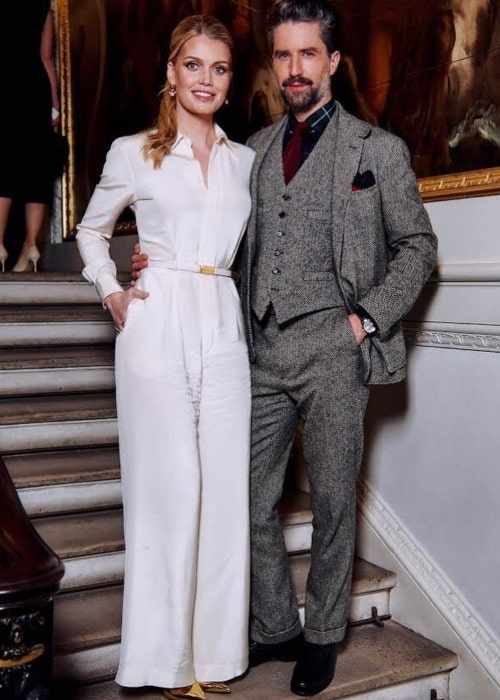 Jack Guinness as seen in a picture taken with model Kitty Spencer at The Royal Academy in November 2019