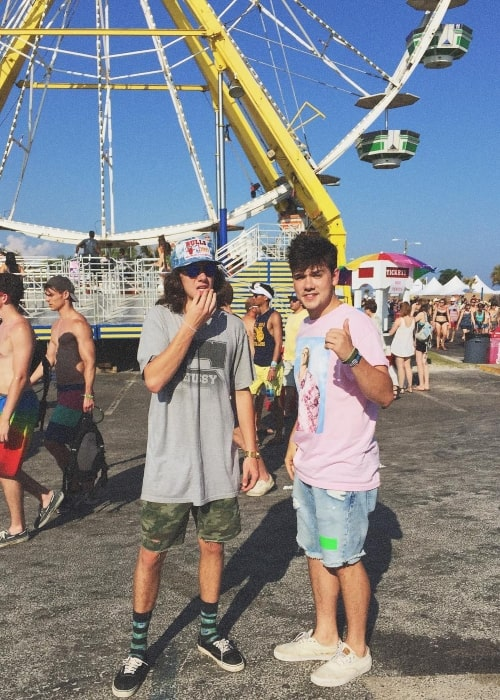 Jake Foushee as seen in a picture that was taken at the Gulf Shores, Alabama with his younger brother Luke in May 2016 while at the Hangout Music Festival