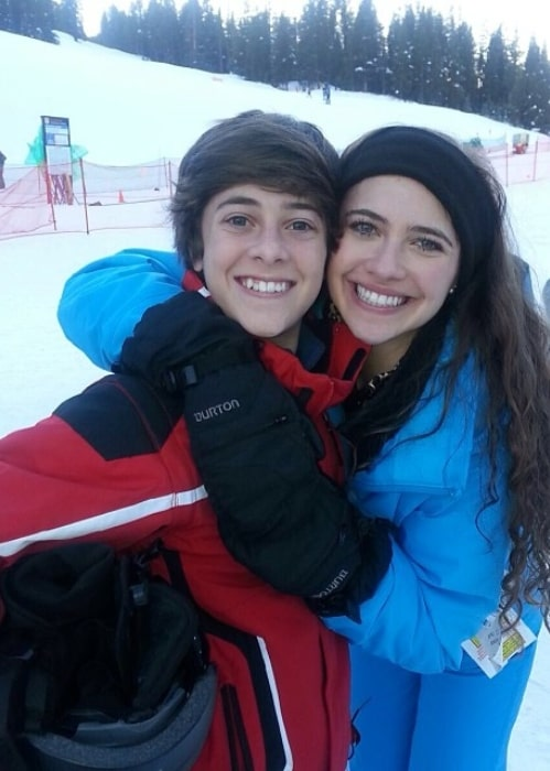 Jaren Lewison having fun skiing with his sister in December 2013