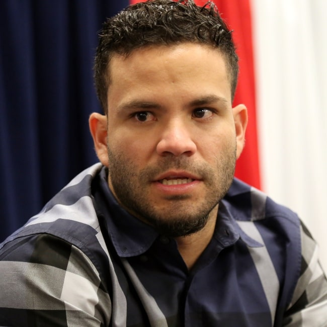 José Altuve as seen in a picture taken in taken while he talks to reporters at 2016 All-Star Game availability