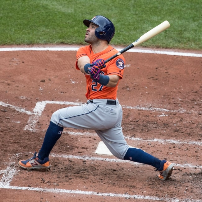 José Altuve as seen in a picture that was taken on June 23, 2017 just after he hits the ball