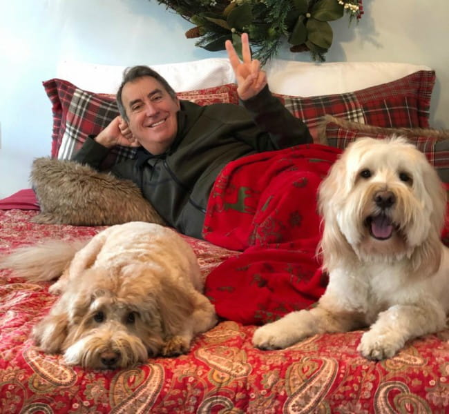 Kenny Ortega with his dogs as seen in December 2018
