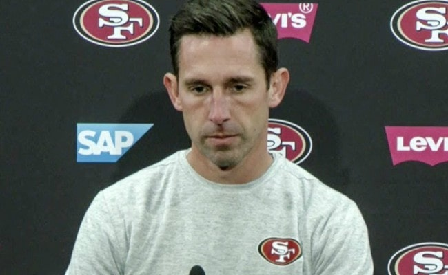 Kyle Shanahan during an interview as seen in December 2017
