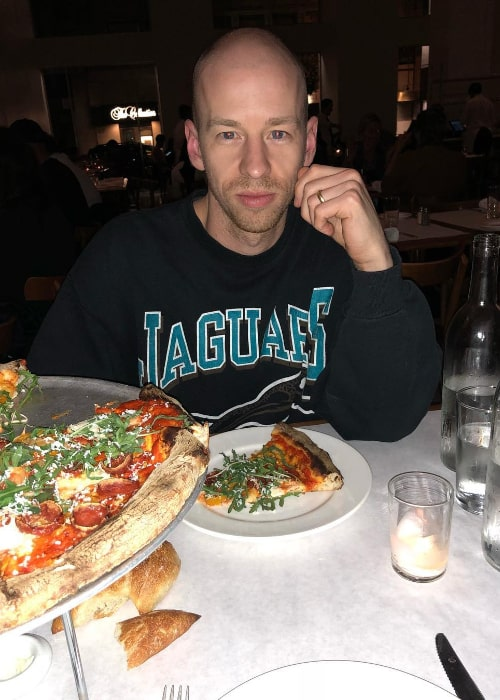 Leslie Priest enjoying his meal at Bottega Louie Restaurant and Gourmet Market in March 2018