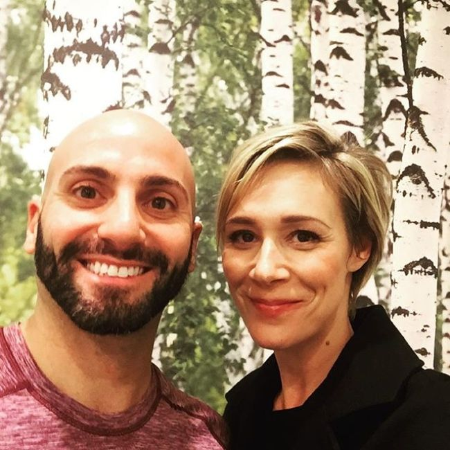 Liza Weil posing with Edan Harari of Kinetic Body Therapy in November 2015