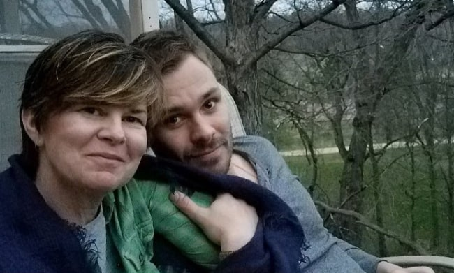 Patrick Flueger as seen in a picture alongside his mother