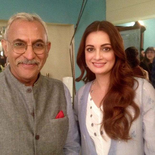 Pawan Chopra smiling in a picture alongside Dia Mirza in October 2018