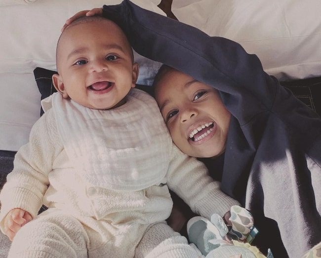 Psalm West (Left) as seen in a picture along with his older brother Saint West