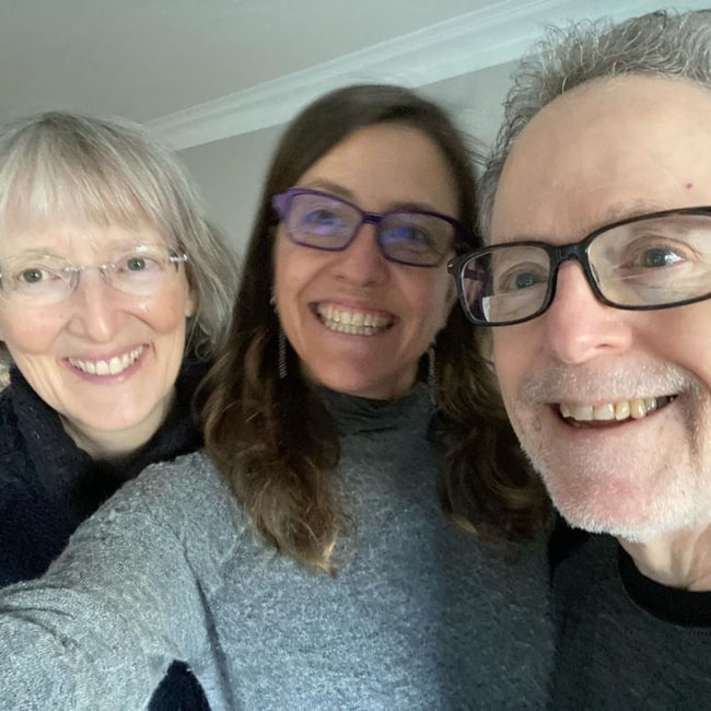 Rebecca Skloot as seen in a selfie taken with her father Floyd Skloot and Beverly Hallberg in Portland, Oregan in April 2020