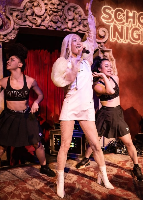 Rina Sawayama in a picture taken while performing like at School Night at Bardot Hollywood in Los Angeles, California, on Monday, April 30, 2018