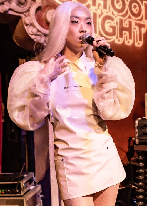 Rina Sawayama performing like at School Night at Bardot Hollywood in Los Angeles, California, on Monday, April 30, 2018