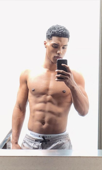 Rome Flynn taking a shirtless mirror selfie showing his stunning physique in August 2019