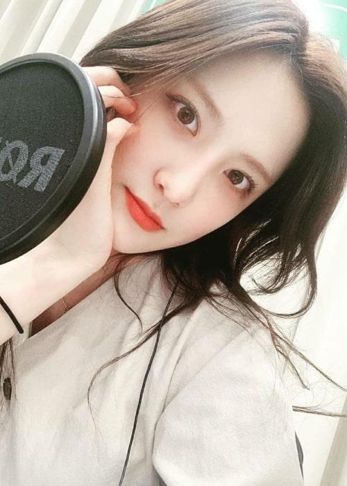 Simyeong as seen in a selfie that was taken in April 2020