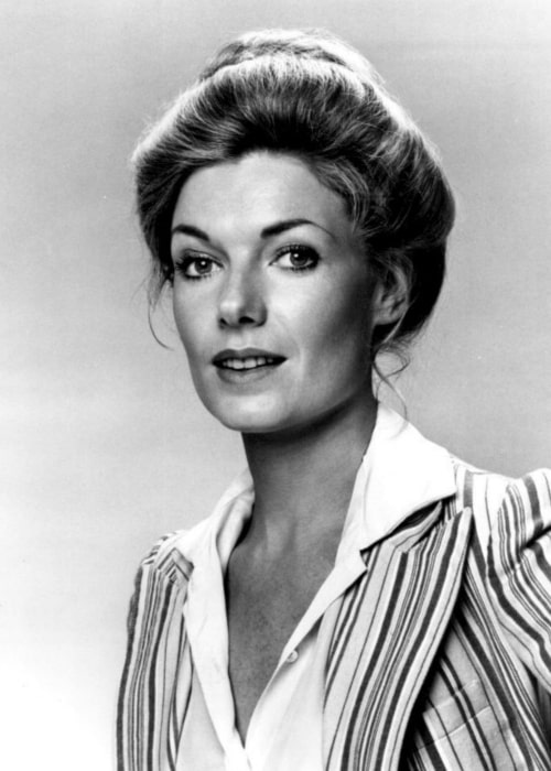 Susan Sullivan as seen in a black and white picture from the television miniseries Rich Man, Poor Man, Book II, which was taken on September 21, 1976