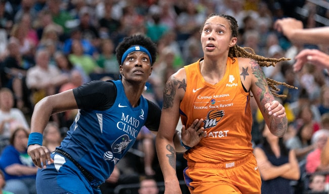 Sylvia Fowles (Left) and Brittney Griner during the Minnesota Lynx vs Phoenix Mercury at Target Center in Minneapolis in July 2019