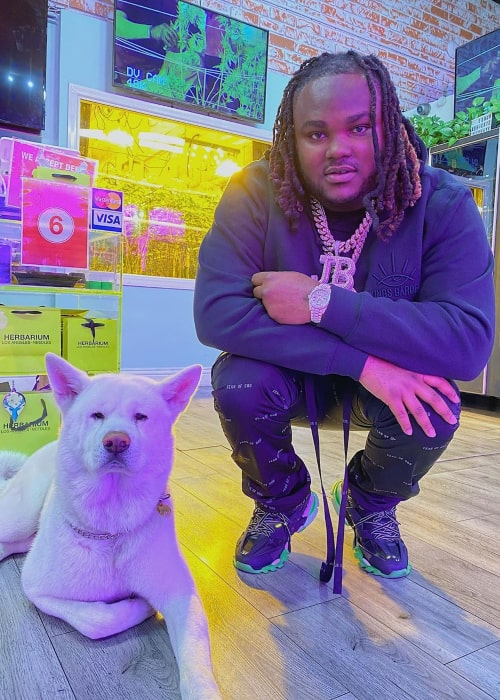 Tee Grizzley with his pet dog, as seen in March 2020
