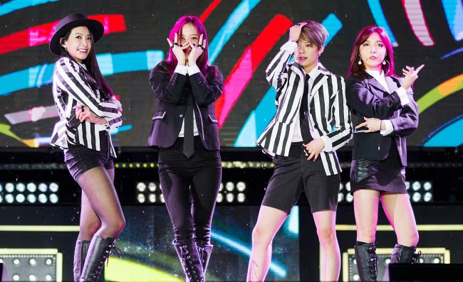 f(x) members Victoria, Krystal, Amber, and Luna pictured while performing at Jeju K-pop Festival in October 2015