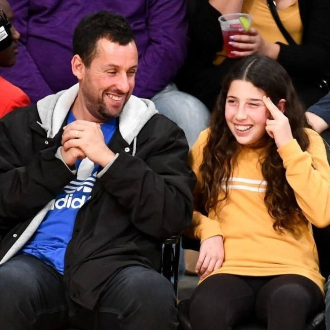 Adam Sandler in a picture taken with his daughter Sadie Sandler while at a basketball game at the Staples Center