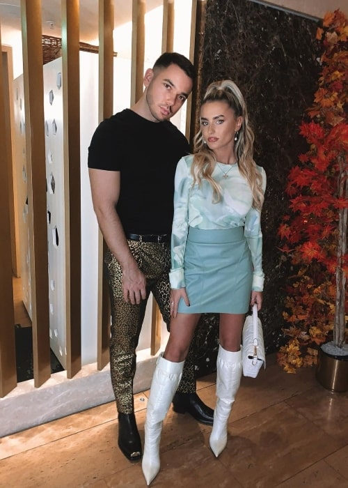 Amber Davies as seen while posing for a picture alongside Thomas Jake Tatam