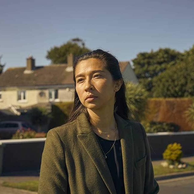 Aoife Hinds in a picture taken while on the set of Normal People