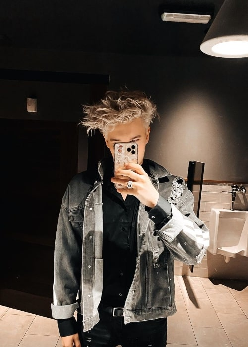 Austin Hare as seen while clicking a mirror selfie at Universal City in Los Angeles County, California in January 2020