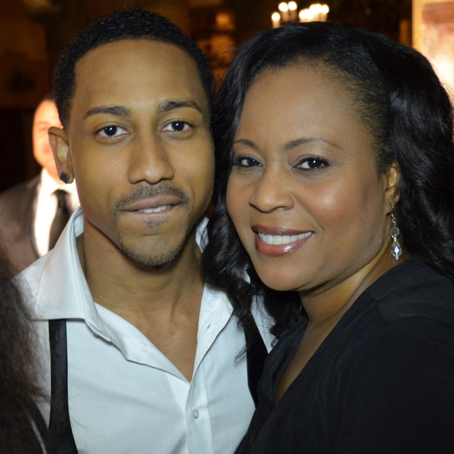 Brandon T. Jackson in a picture taken with Stephanie Garrett on February 24, 2012