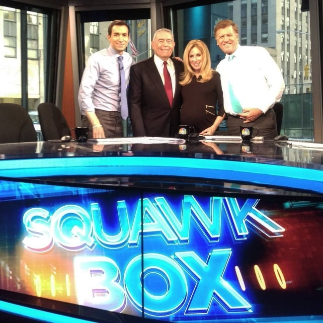 Dan Rather with CNBC's Squawk Box team in August 2016