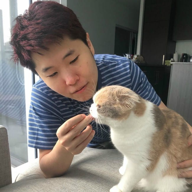 Disguised Toast with his cat as seen in August 2019