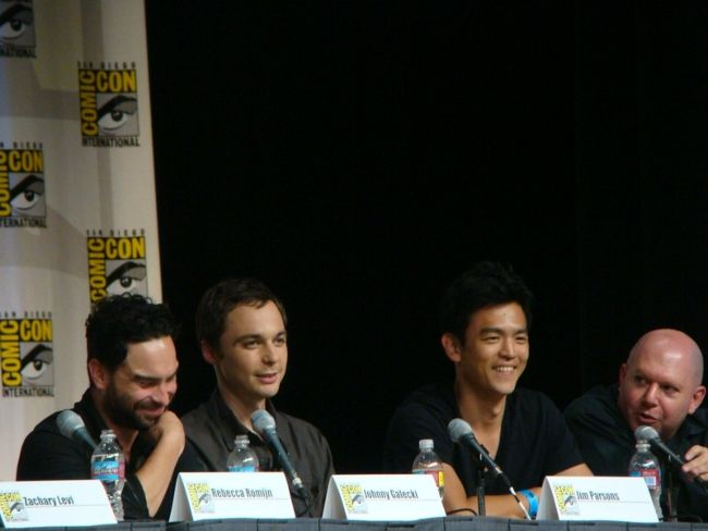 (From left to right) Johnny Galecki, Jim Parsons, John Cho, and Marc Guggenheim