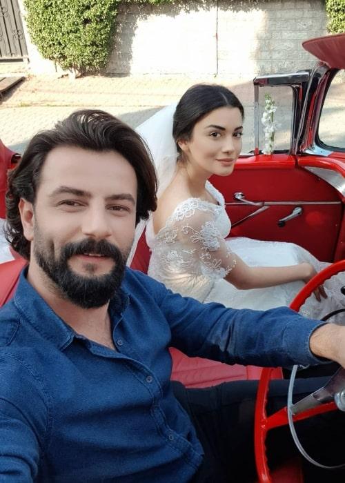 Gökberk Demirci as seen while clicking a selfie along with Özge Yağız in Istanbul, Turkey in December 2019