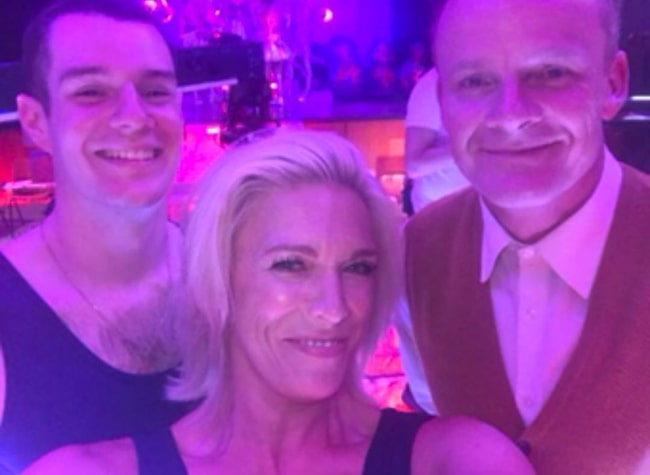 Hannah Waddingham as seen while clicking a selfie along with Alistair Petrie (Right) and Connor Swindells in Janaury 2020