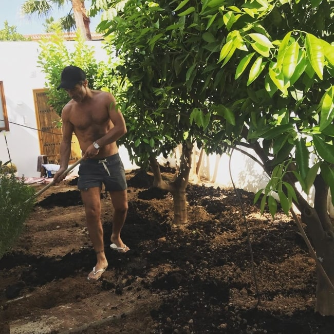Jake Canuso gardening on a Saturday in October 2019