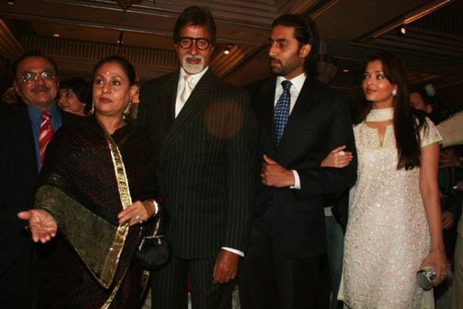 Jaya Bachchan as seen with Amitabh Bachchan, Abhishek Bachchan, and Aishwarya Rai