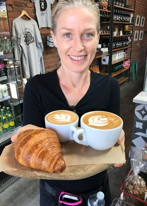 Jessica Tuck as seen in a picture just before relishing a croissant and coffee in July 2018 at the LoCal Coffee and Market