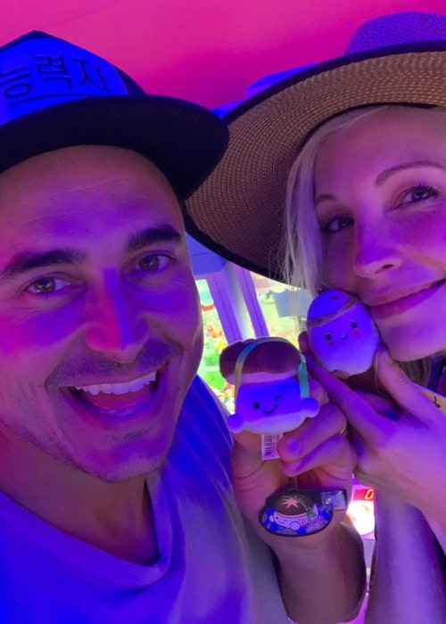 Joe King and Candice Accola, as seen in August 2019, during a trip to Seoul, South Korea