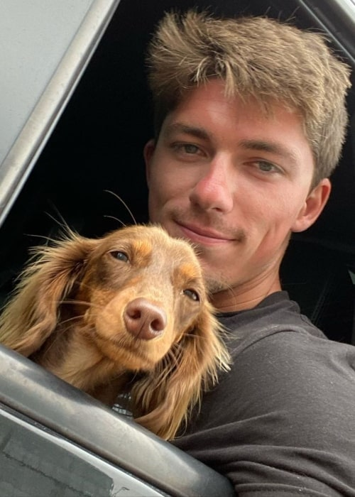 Jon Barzacchini as seen in a selfie taken with his dog Lucky in Connecticut in May 2020