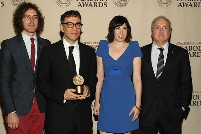 Jonathan Krisel, Fred Armisen, Carrie Brownstein, and Lorne Michaels as seen in 2012