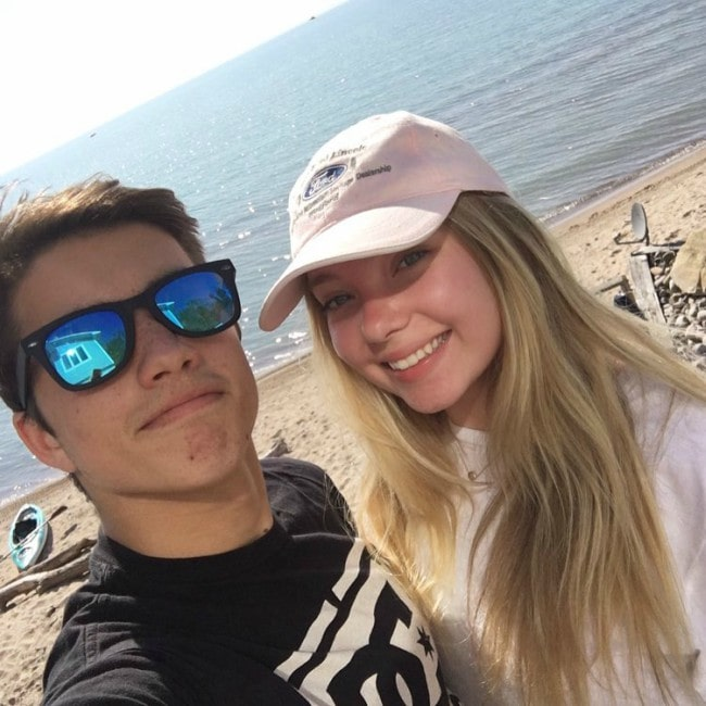 Jonny Gray as seen while taking a selfie with Emilia McCarthy at Grand Bend Beach in Lambton Shores, Canada in May 2016