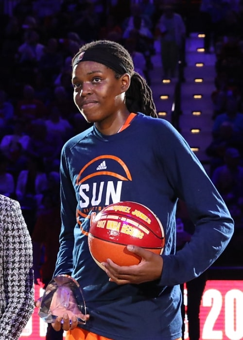 Jonquel Jones as seen in a picture taken while holding the award for the 2017 WNBA Most Improved Player