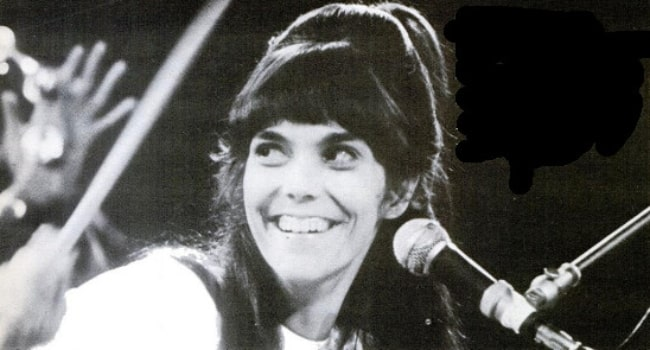 Karen Carpenter as seen while drumming on stage in early 1970s