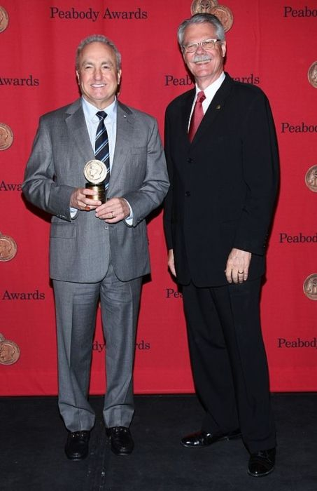 Lorne Michaels posing with his individual award at the 72nd Annual Peabody Awards in 2013