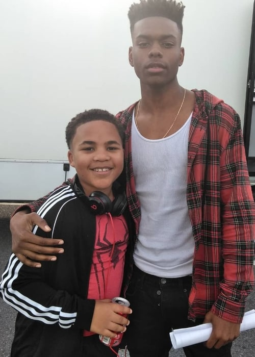 Maceo Smedley (Left) as seen while posing for a picture alongside Aubrey Joseph in May 2019